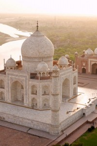 An arial view of Taj Mahal